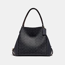 Image of Coach Australia LI/CHARCOAL MIDNIGHT NAVY EDIE SHOULDER BAG 31 IN SIGNATURE CANVAS