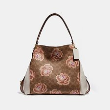 Image of Coach Australia B4/TAN CHALK EDIE SHOULDER BAG 31 IN SIGNATURE ROSE PRINT