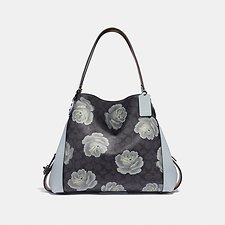Image of Coach Australia DK/CHARCOAL SKY EDIE SHOULDER BAG 31 IN SIGNATURE ROSE PRINT