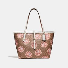 Image of Coach Australia B4/TAN CHALK MARKET TOTE IN SIGNATURE ROSE PRINT