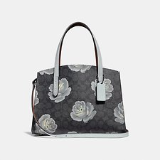 Image of Coach Australia DK/CHARCOAL SKY CHARLIE CARRYALL 28 IN SIGNATURE ROSE PRINT