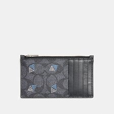 Image of Coach Australia CHARCOAL ZIP CARD CASE IN SIGNATURE CANVAS WITH DOT DIAMOND PRINT