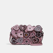 Image of Coach Australia BP/DUSTY ROSE FOLDOVER CROSSBODY CLUTCH WITH HEARTS