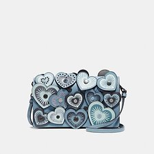 Image of Coach Australia DK/CHAMBRAY FOLDOVER CROSSBODY CLUTCH WITH HEARTS