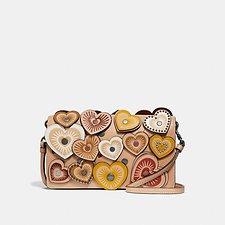 Image of Coach Australia DK/BEECHWOOD FOLDOVER CROSSBODY CLUTCH WITH HEARTS