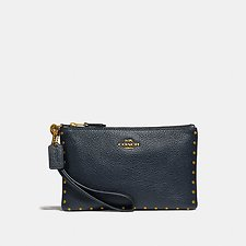 Image of Coach Australia B4/MIDNIGHT NAVY SMALL WRISTLET WITH BORDER RIVETS