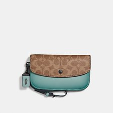 Image of Coach Australia BP/TAN LIGHT TURQUOISE CLUTCH IN COLORBLOCK SIGNATURE CANVAS