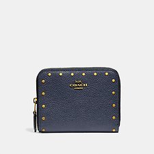 Image of Coach Australia B4/MIDNIGHT NAVY SMALL ZIP AROUND WALLET WITH BORDER RIVETS