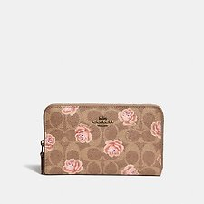 Image of Coach Australia B4/TAN MEDIUM ZIP AROUND WALLET IN SIGNATURE ROSE PRINT