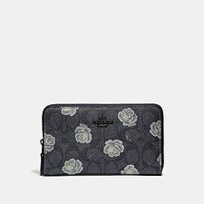 Image of Coach Australia DK/CHARCOAL SKY MEDIUM ZIP AROUND WALLET IN SIGNATURE ROSE PRINT