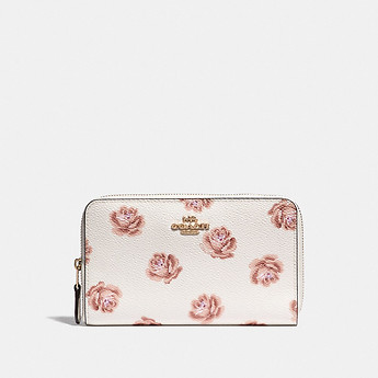 Image of Coach Australia  MEDIUM ZIP AROUND WALLET WITH ROSE PRINT