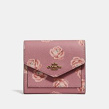 Image of Coach Australia B4/ROSE ROSE PRINT SMALL WALLET WITH ROSE PRINT