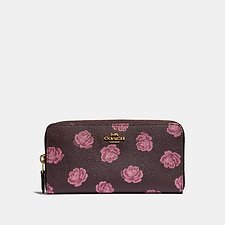 Image of Coach Australia GD/OXBLOOD ROSE PRINT ACCORDION ZIP WALLET WITH ROSE PRINT