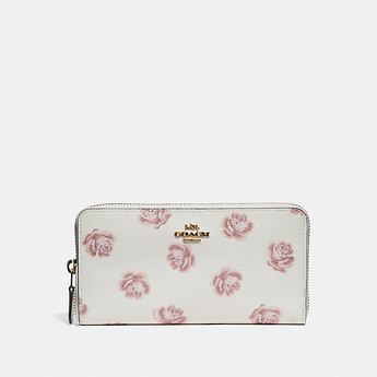 Image of Coach Australia  ACCORDION ZIP WALLET WITH ROSE PRINT