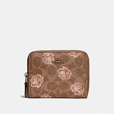 Picture of SMALL ZIP AROUND WALLET IN SIGNATURE ROSE PRINT
