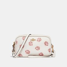 Image of Coach Australia LI/CHALK ROSE PRINT CROSSBODY CLUTCH WITH ROSE PRINT