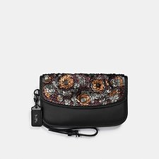 Image of Coach Australia BP/BLACK CLUTCH WITH LEATHER SEQUIN
