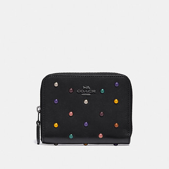 Image of Coach Australia  SMALL ZIP AROUND WALLET WITH RAINBOW RIVETS