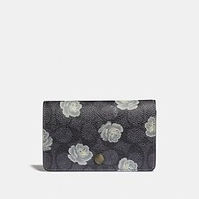 Image of Coach Australia BP/CHARCOAL SKY FOLDOVER CARD CASE IN SIGNATURE ROSE PRINT