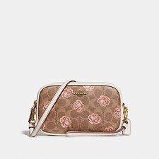 Image of Coach Australia B4/TAN CROSSBODY CLUTCH IN SIGNATURE ROSE PRINT