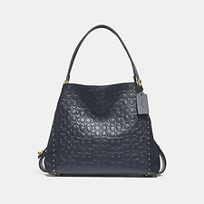 Image of Coach Australia B4/MIDNIGHT NAVY EDIE SHOULDER BAG 31 IN SIGNATURE LEATHER WITH BORDER RIVETS