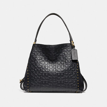 Image of Coach Australia  EDIE SHOULDER BAG 31 IN SIGNATURE LEATHER WITH BORDER RIVETS