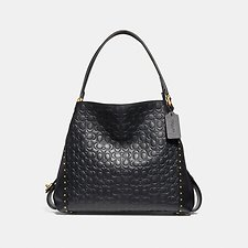 Image of Coach Australia B4/BLACK EDIE SHOULDER BAG 31 IN SIGNATURE LEATHER WITH BORDER RIVETS