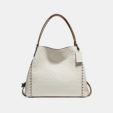 Image of Coach Australia BP/CHALK EDIE SHOULDER BAG 31 IN SIGNATURE LEATHER WITH BORDER RIVETS