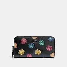 Image of Coach Australia DK/RAINBOW ROSE PRINT ACCORDION ZIP WALLET WITH RAINBOW ROSE PRINT