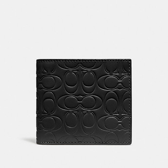 Image of Coach Australia  DOUBLE BILLFOLD WALLET IN SIGNATURE LEATHER