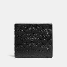 Image of Coach Australia BLACK DOUBLE BILLFOLD WALLET IN SIGNATURE LEATHER
