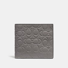 Image of Coach Australia HEATHER GREY DOUBLE BILLFOLD WALLET IN SIGNATURE LEATHER