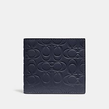 Image of Coach Australia MIDNIGHT DOUBLE BILLFOLD WALLET IN SIGNATURE LEATHER