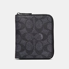 Image of Coach Australia CHARCOAL SMALL ZIP AROUND WALLET IN SIGNATURE CANVAS