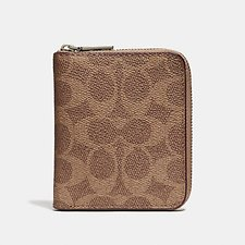 Image of Coach Australia KHAKI SMALL ZIP AROUND WALLET IN SIGNATURE CANVAS