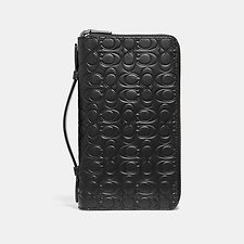Image of Coach Australia BLACK DOUBLE ZIP TRAVEL ORGANIZER IN SIGNATURE LEATHER
