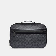 Image of Coach Australia CHARCOAL ACADEMY TRAVEL CASE IN SIGNATURE CANVAS