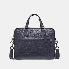 Image of Coach Australia QB/MIDNIGHT NAVY HUDSON 5 BAG IN SIGNATURE LEATHER