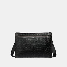 Image of Coach Australia QB/BLACK MANHATTAN CONVERTIBLE SLIM MESSENGER IN SIGNATURE LEATHER