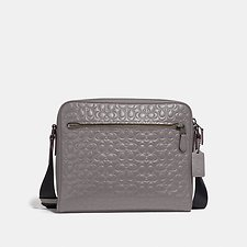 Image of Coach Australia QB/HEATHER GREY METROPOLITAN CAMERA BAG IN SIGNATURE LEATHER