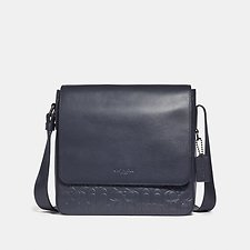 Image of Coach Australia QB/MIDNIGHT NAVY METROPOLITAN MAP BAG IN SIGNATURE LEATHER