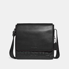 Image of Coach Australia QB/BLACK METROPOLITAN MAP BAG IN SIGNATURE LEATHER