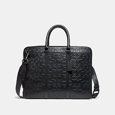Image of Coach Australia QB/BLACK METROPOLITAN SLIM BRIEF IN SIGNATURE LEATHER
