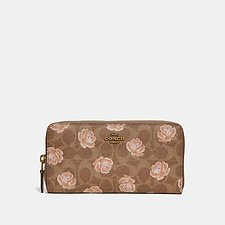 Image of Coach Australia B4/TAN ACCORDION ZIP WALLET IN SIGNATURE ROSE PRINT