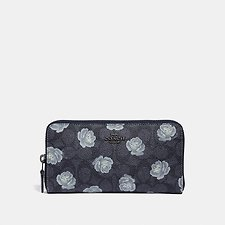 Image of Coach Australia DK/CHARCOAL SKY ACCORDION ZIP WALLET IN SIGNATURE ROSE PRINT