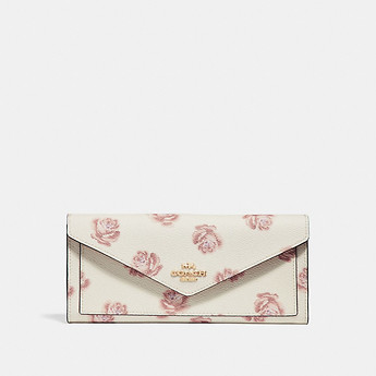 Image of Coach Australia  SOFT WALLET WITH ROSE PRINT