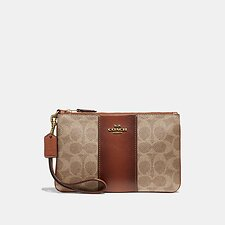 Image of Coach Australia B4/TAN RUST SMALL WRISTLET IN COLORBLOCK SIGNATURE CANVAS
