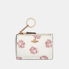 Image of Coach Australia LI/CHALK ROSE PRINT MINI SKINNY ID CASE WITH ROSE PRINT