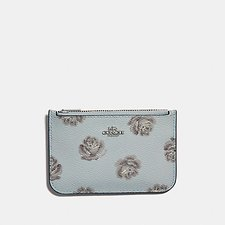 Image of Coach Australia SV/SKY ROSE PRINT ZIP CARD CASE WITH ROSE PRINT