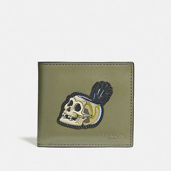 Image of Coach Australia  DISNEY X COACH DOUBLE BILLFOLD WALLET WITH SKULL